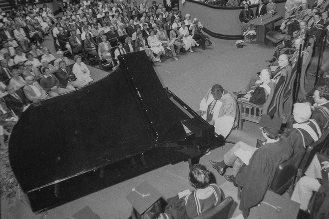 Oscar Peterson plays the piano at his Honorary Degree ceremony