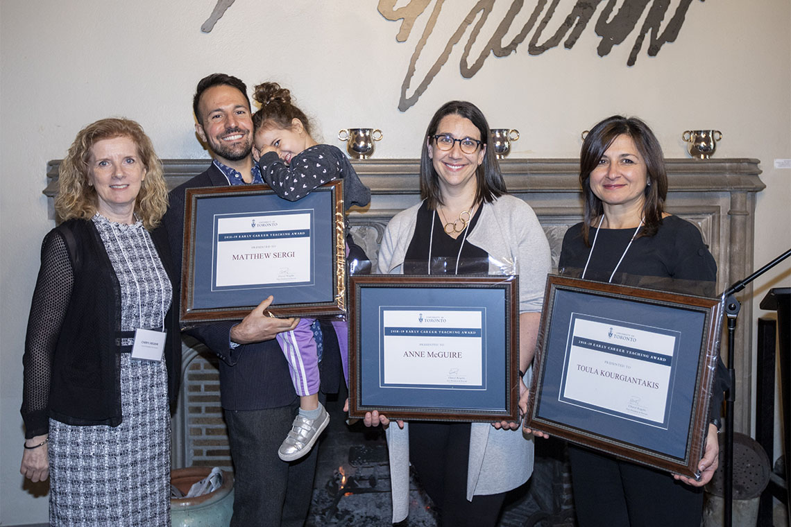 From left to right: Cheryl Regehr, Vice-President and Provost, Matthew Sergi, (with daughter Clio Glenn-Sergi) Anne McGuire,, and Toula Kourgiantakis, in the Gallery Grill