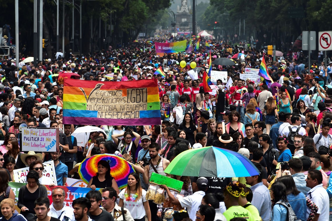 a very large crowd marching in the Pride Parade in Mexico City