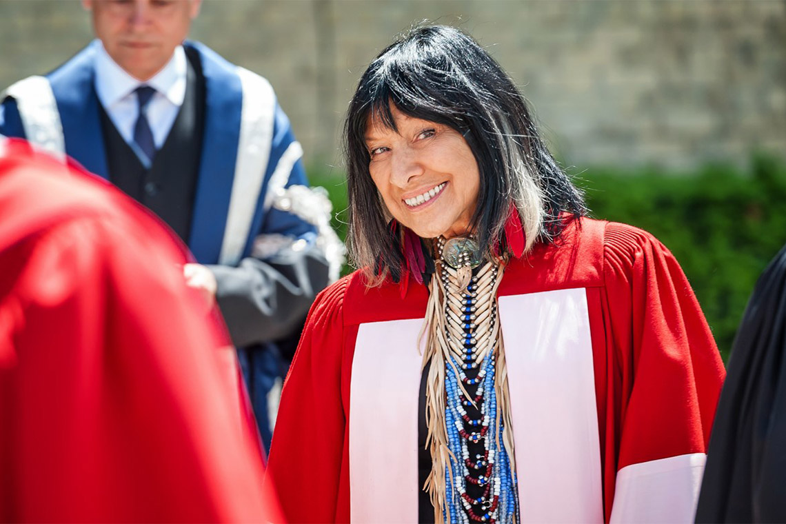 Buffy Sainte Marie in her convocation robes