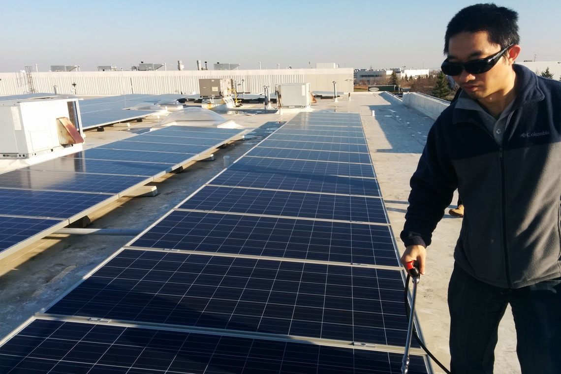Cheng Lu, pictured at a solar farm in China