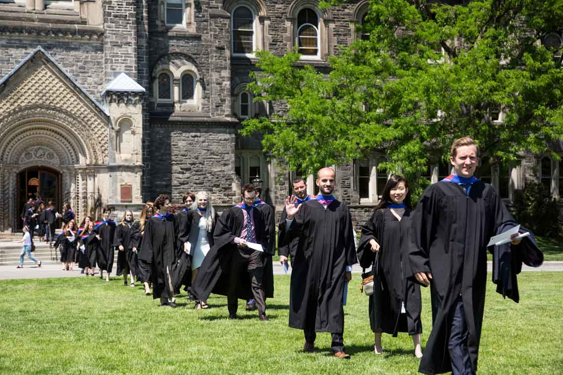 photo of medical school grads in procession