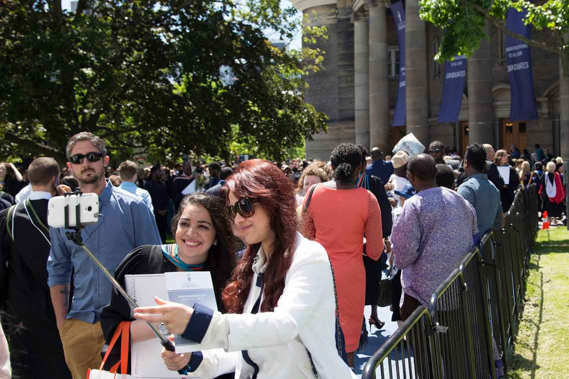 photo of families outside Convocation Hall