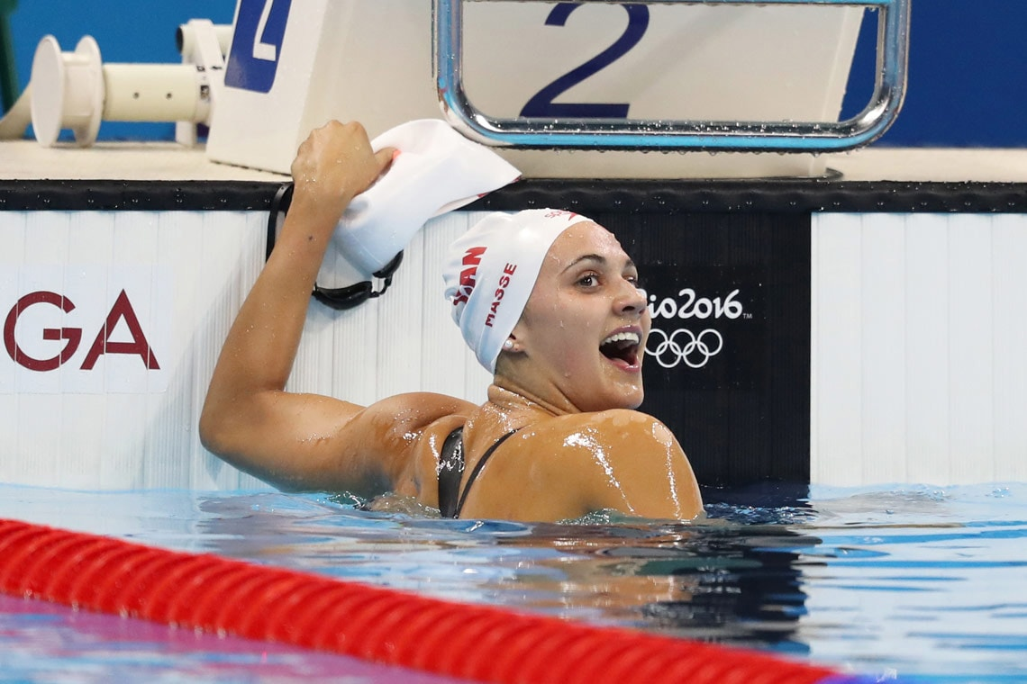 photo of Masse in pool immediately after her bronze race
