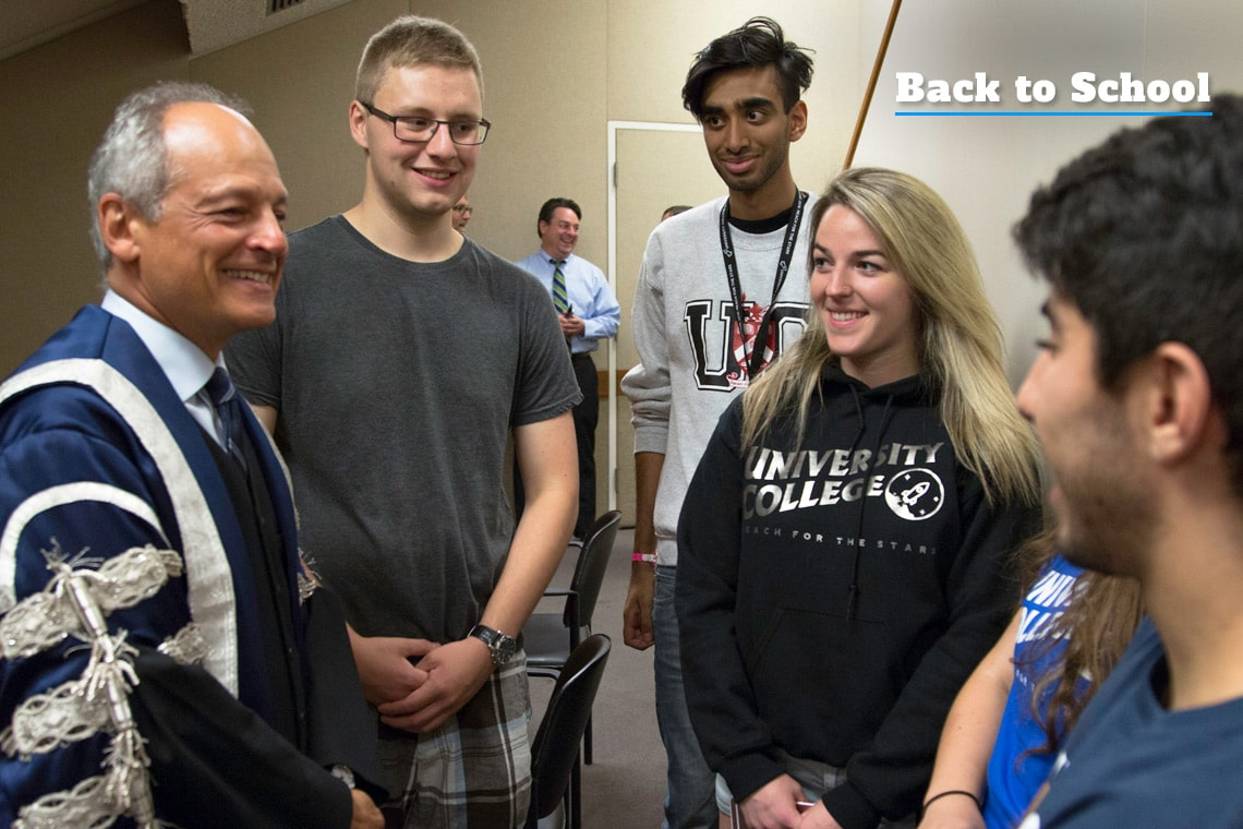 Photo of President Gertler at University College Orientation