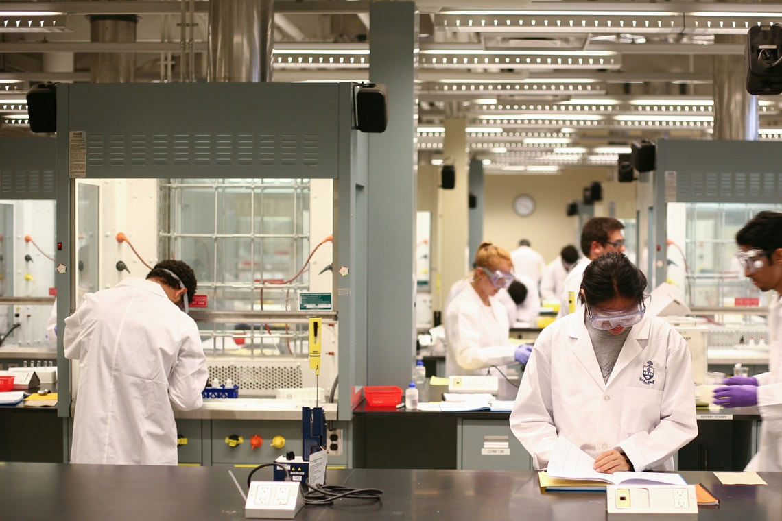 Medical students conduct research in a laboratory