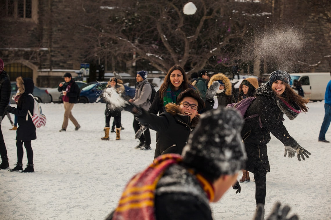 Photo of students in a snowball fight