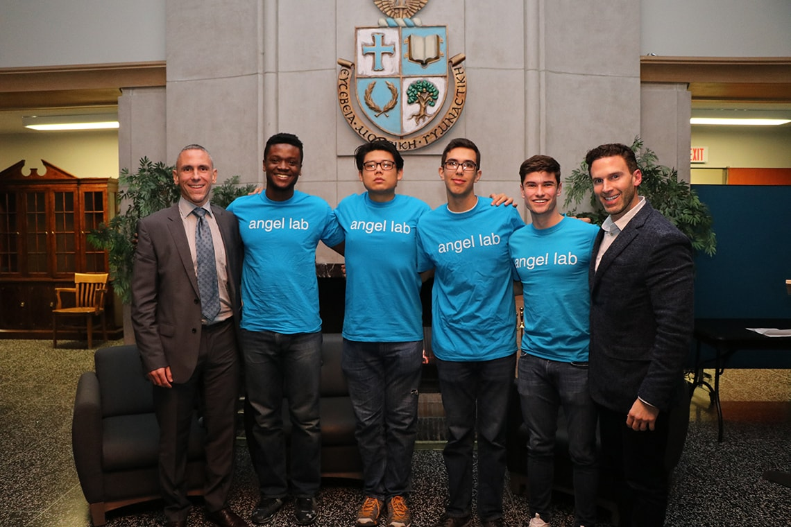 Photo of Angel Lab students with speakers Anthony Lacavera and Mark Palma