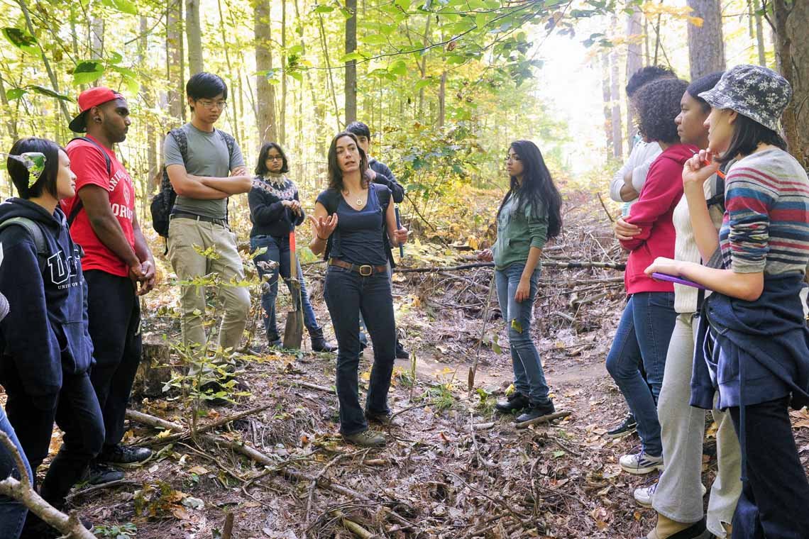 photo of professor and students in forest