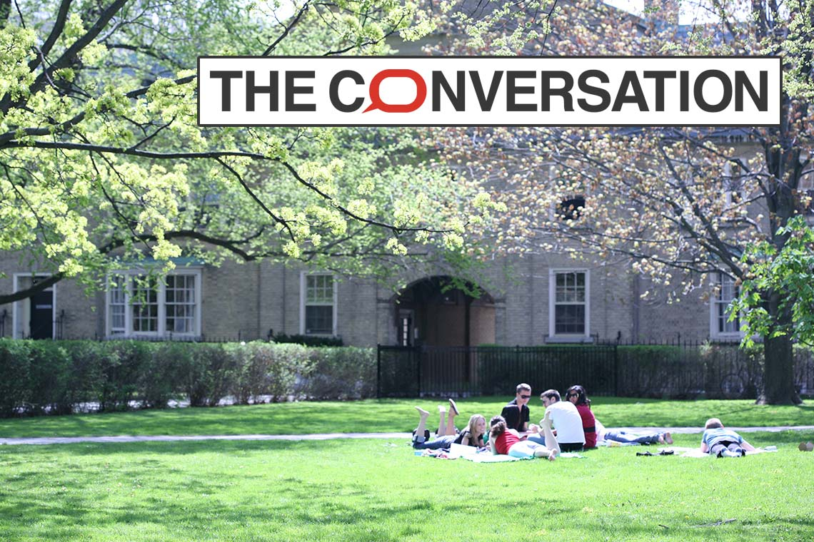 photo of UC quad with The Conversation logo