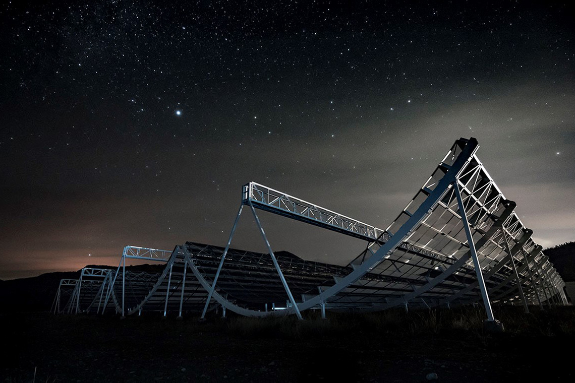 The chime telescope under a starry night sky