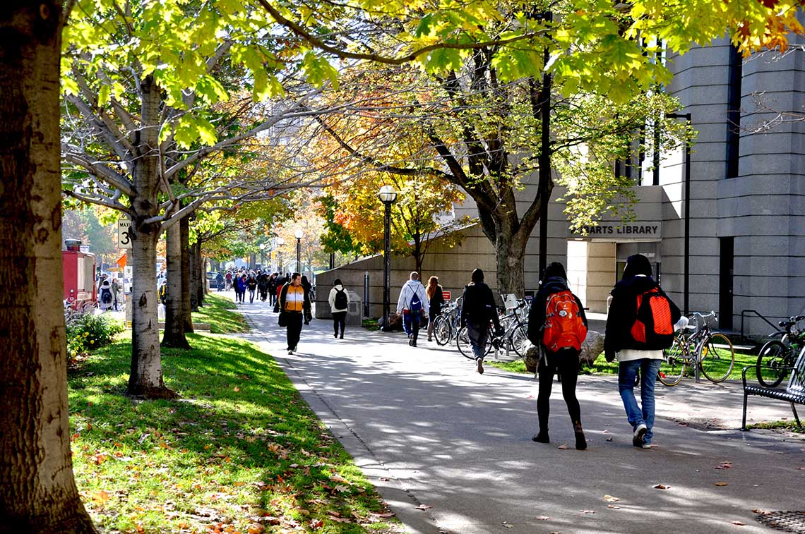 Picture of students walking near Robarts Library