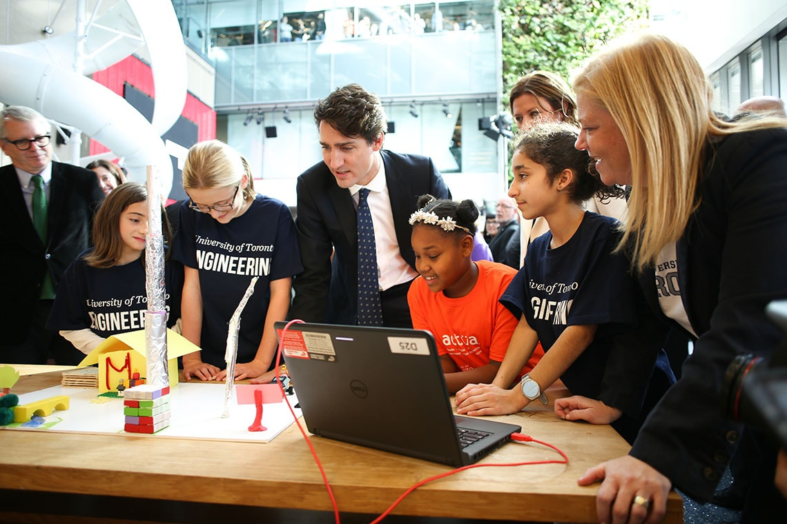Photo of Trudeau with young U of T Engineering Outreach students