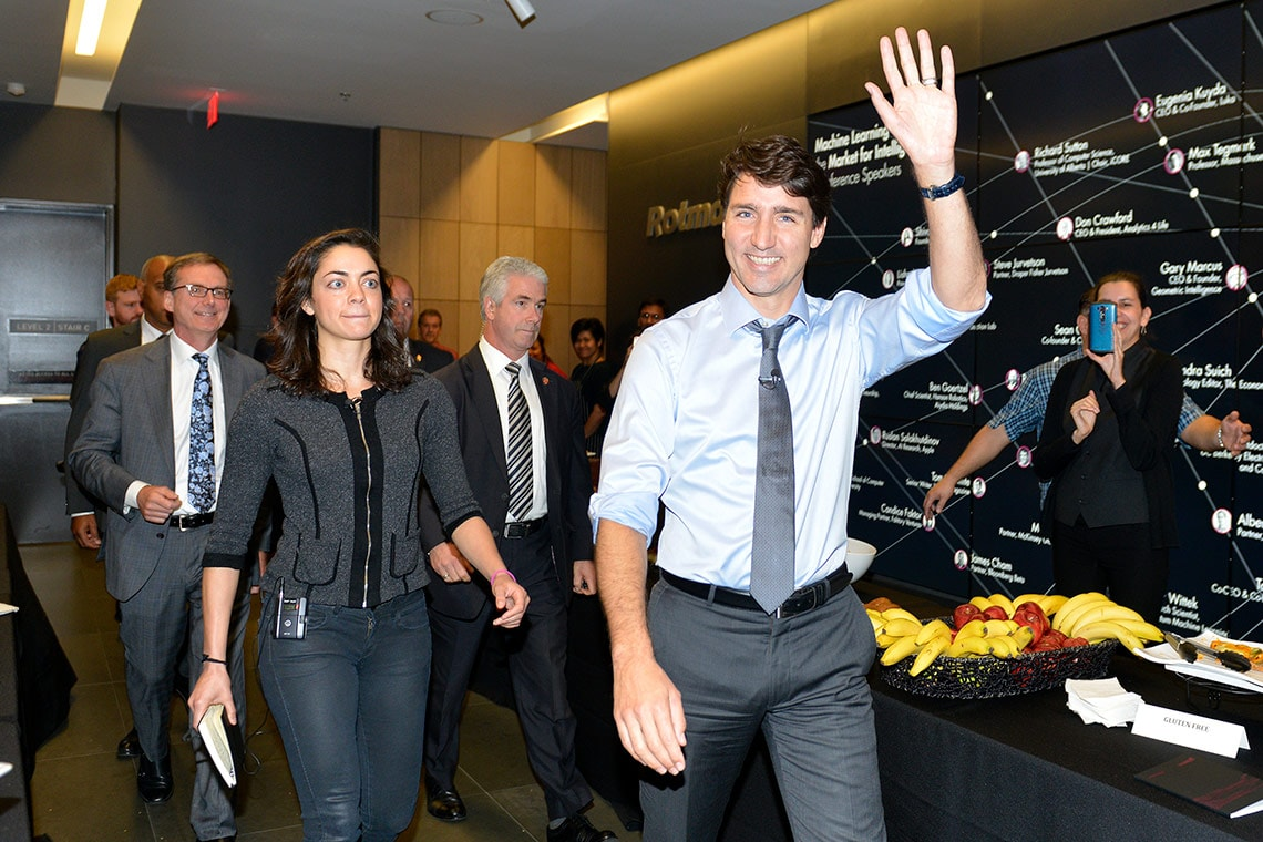 Photo of Trudeau arriving at conference