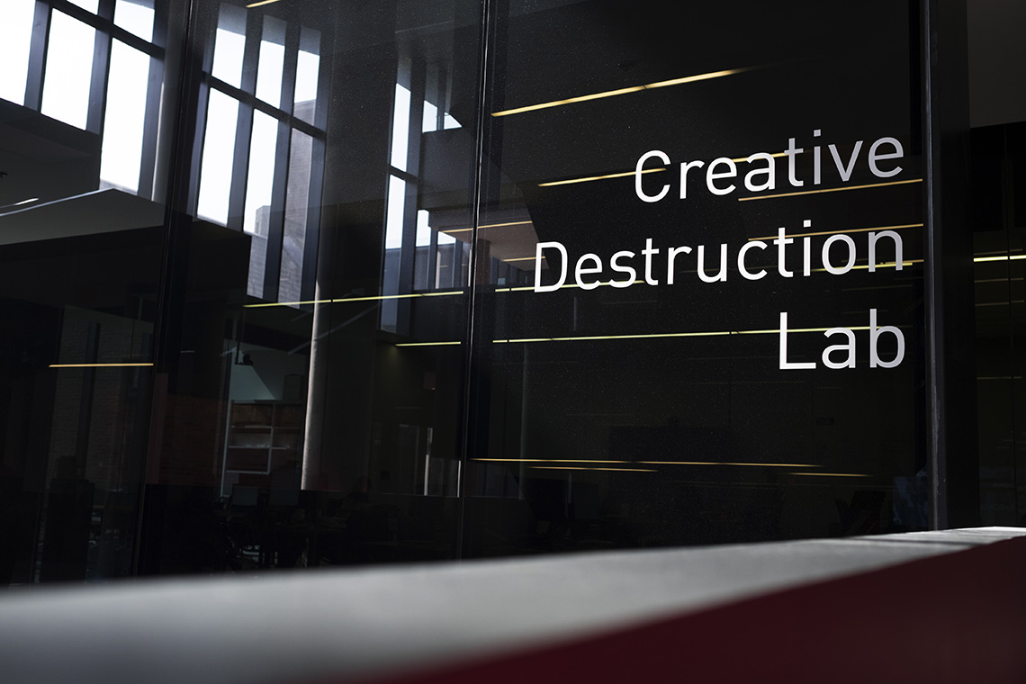 A sign reads Creative Destruction Lab