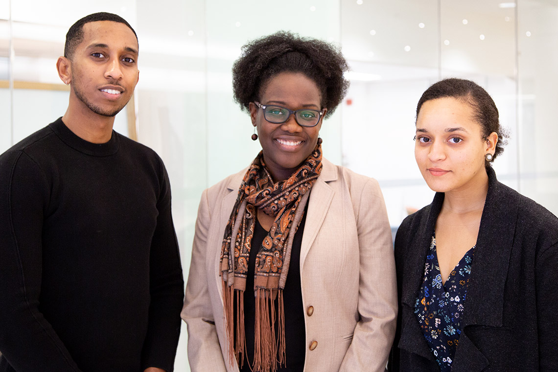 U of T medical students Semir Bulle and Chantal Phillips with Dr. Onye Nnorom, MD Black health lead of the MD program