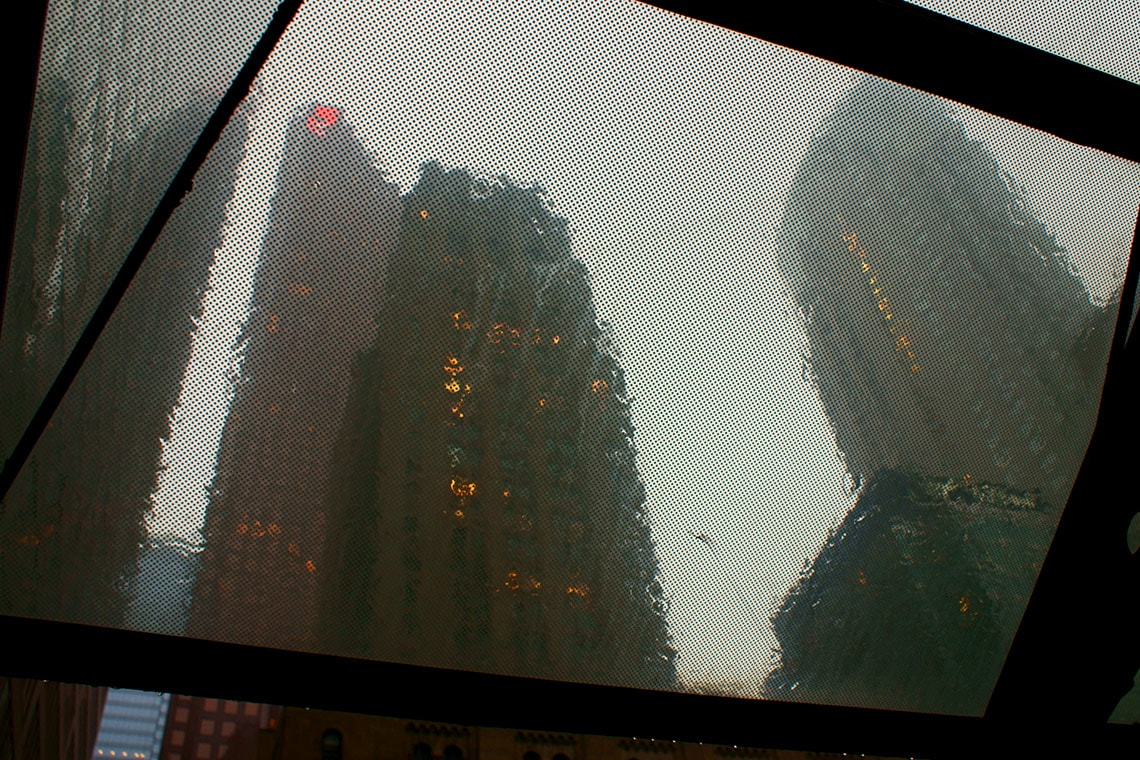 Photo of office buildings in the rain