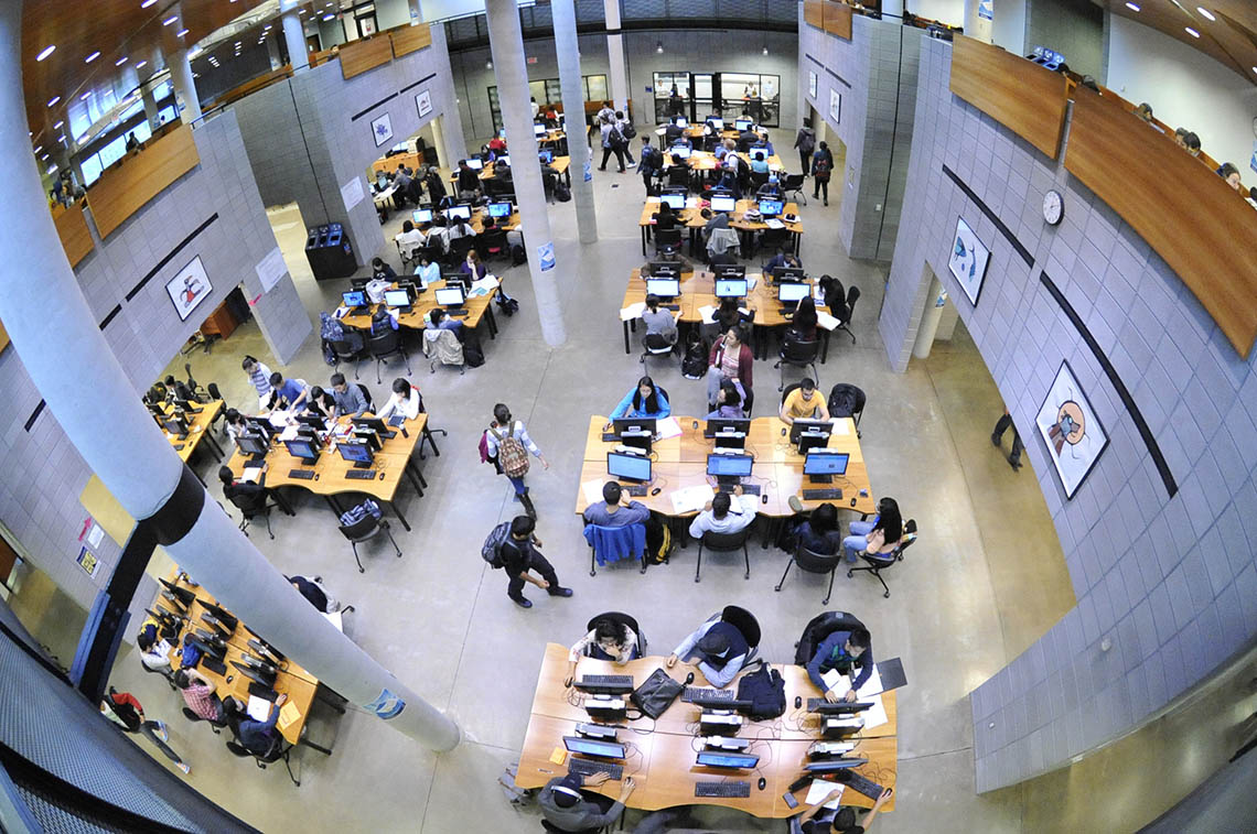 Photo of students in library