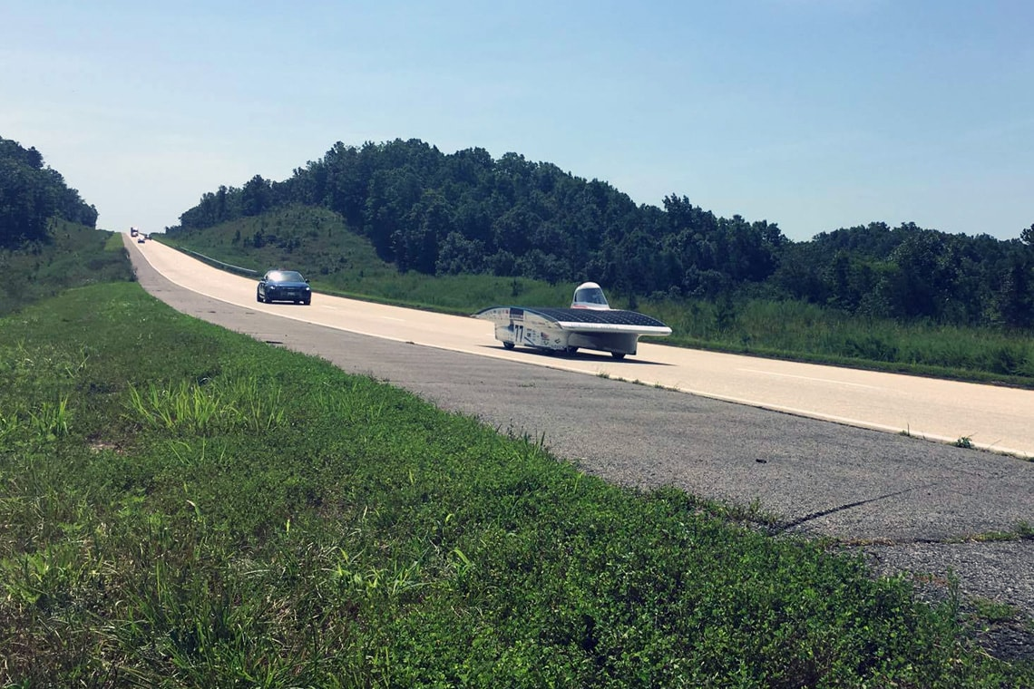 photo of solar car on highway