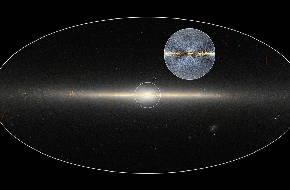 WISE all-sky image of the Milky Way. The circle is centred on the galaxy's central region, while gthe inset shows an enhanced version of the same region with a clearer view of the X-shaped structure.