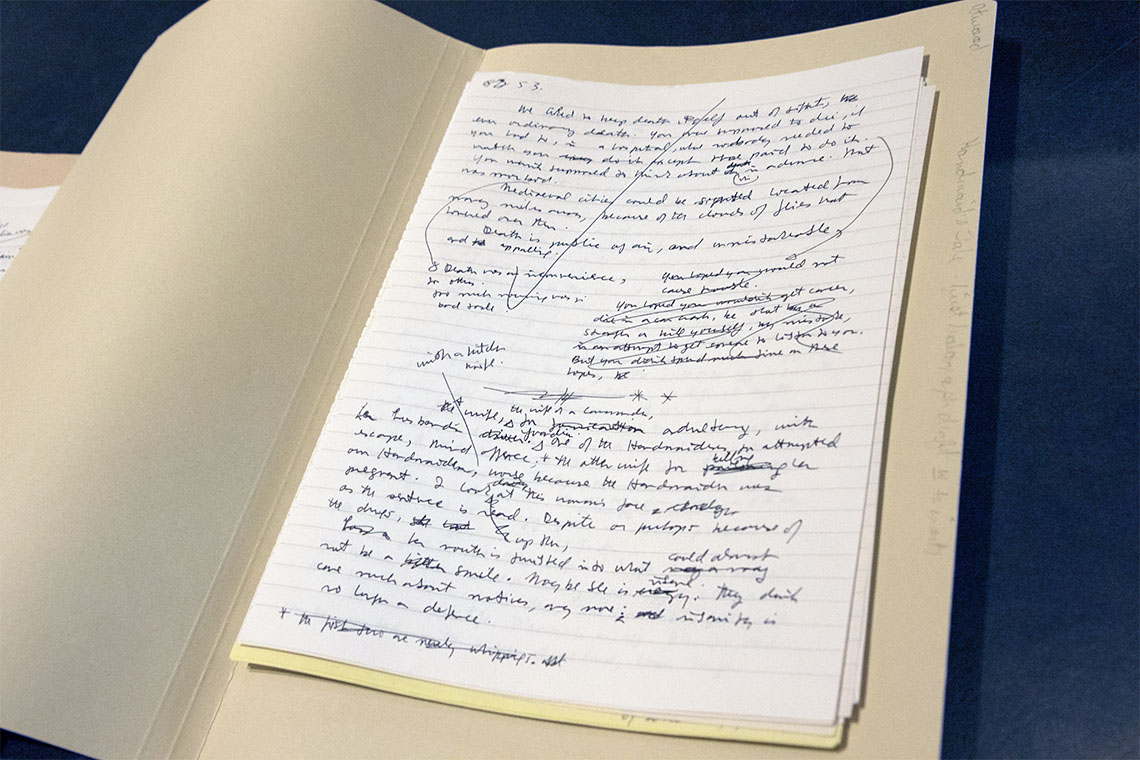 A page from the original manuscript for Margaret Atwood's A Handmaid's Tale