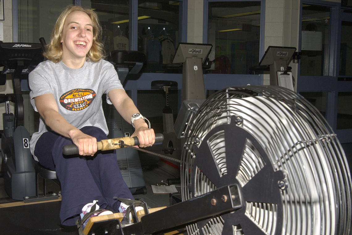 Kaley McLean uses a rowing machine at U of T