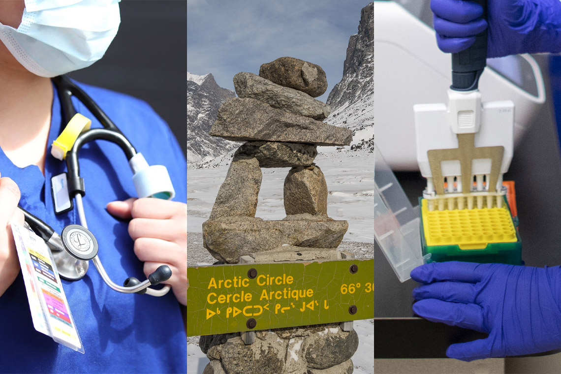 a close up of a nurse, an inukshuk at the arctic cricle, and a lab tech dispensing samples