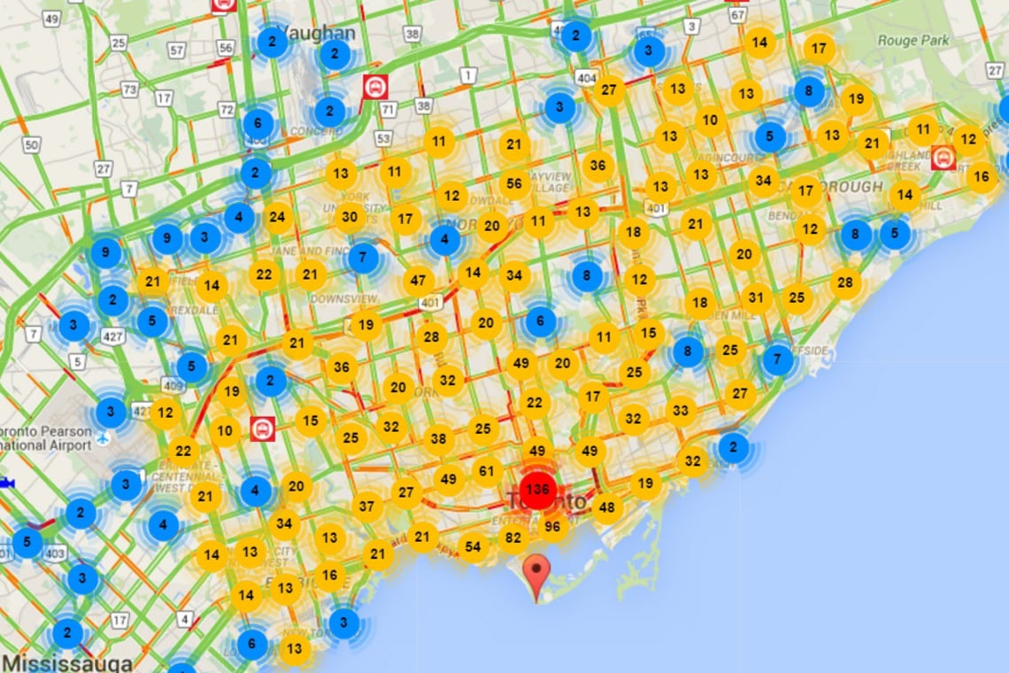 CVST map of the Greater Toronto area. The red, yellow and blue circles represent the number of data points in a specific location.
