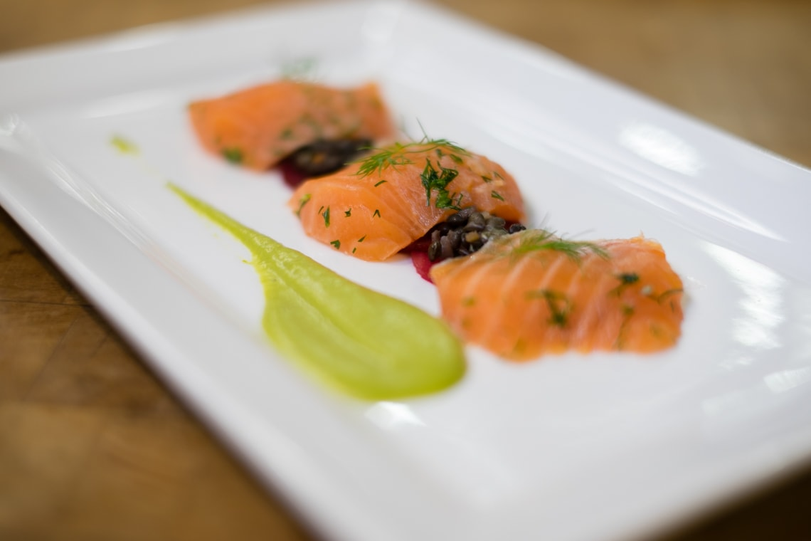 A picture of a quick cured salmon made by U of T students on the Iron Chef team