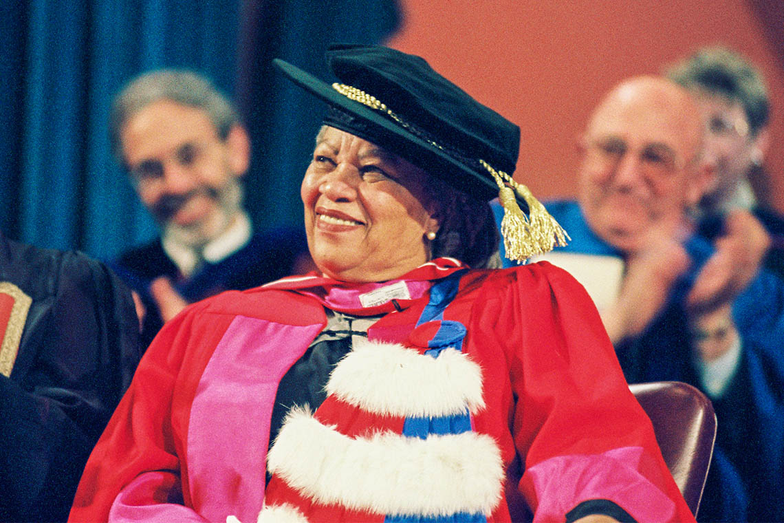 Photo of Toni Morrison receiving honorary degree at U of T in 2002