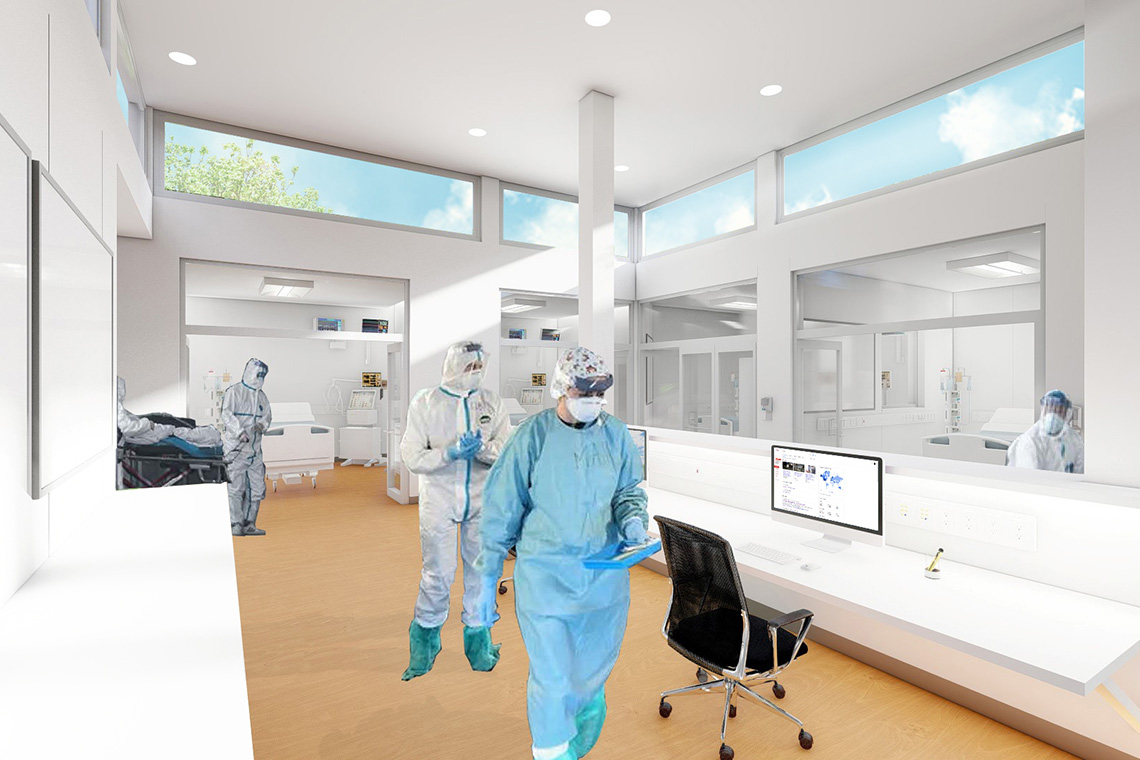 Rendering of medical staff working in the quick-build icu building