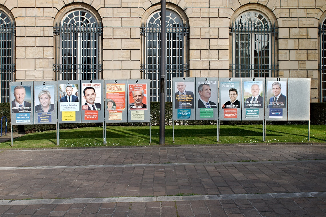 French election candidates' posters