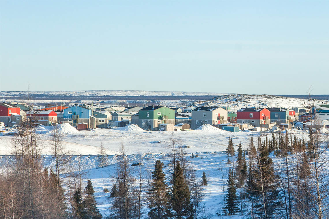 Photo of Kuujjuaq with trees in the foreground