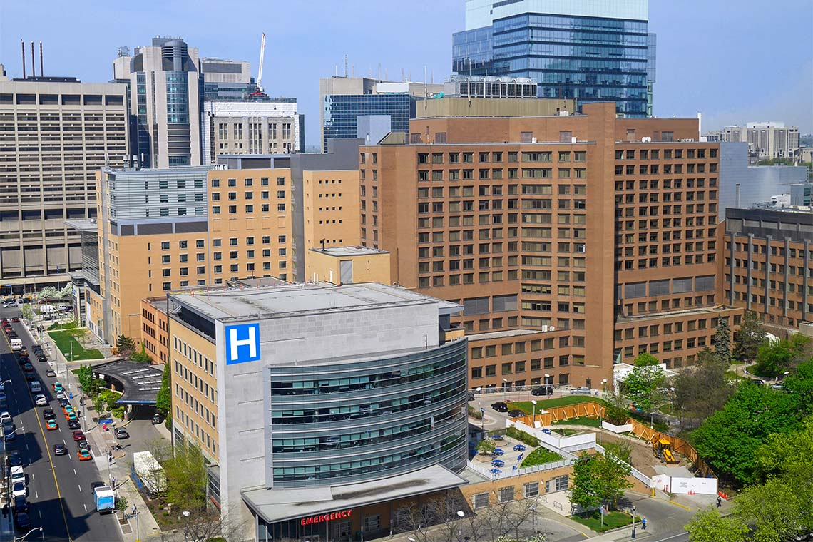 An aerial view of various downtown Toronto hospitals