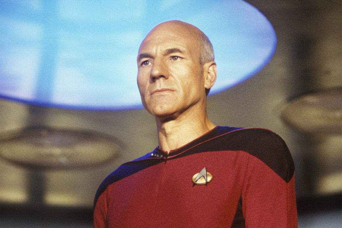 Jean Luc-Picard on the bridge of the starship Enterprise