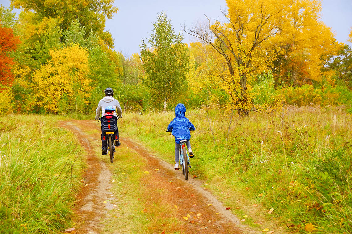 Father takes his two children cycling through a forest trail