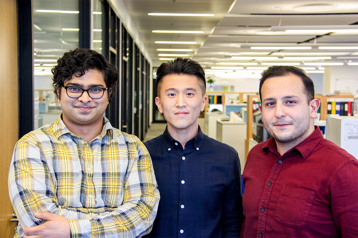 Harsha Murthy, Frank Shin-Haw Lee and Sina Hadipour-Lakmehsari pose for a photo