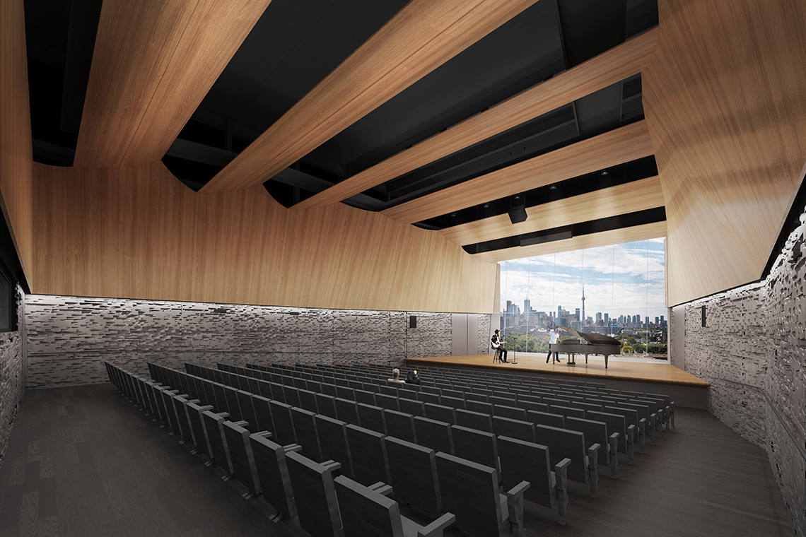 rendering of the Interior of the 90 Queens Park performance hall with a view of the Toronto skyline