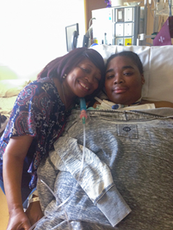 Carisse Samuel in the hospital with her mother bernadine