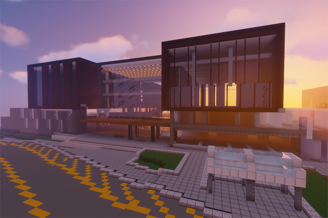 Exterior of Deerfield Hall at University of toronto mississauga recreated in minecraft