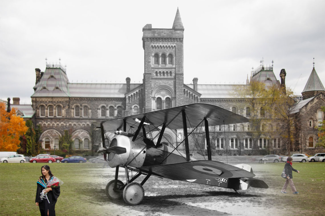 A composite image of University College in 2018 and in 1918