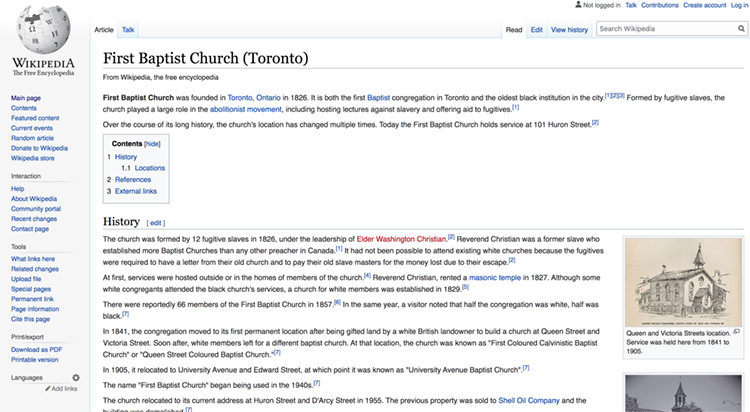 screenshot of the first baptist church wikipedia entry