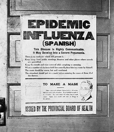 1918 poster from alberta warning people about the dangers of the flu and how to make a mask