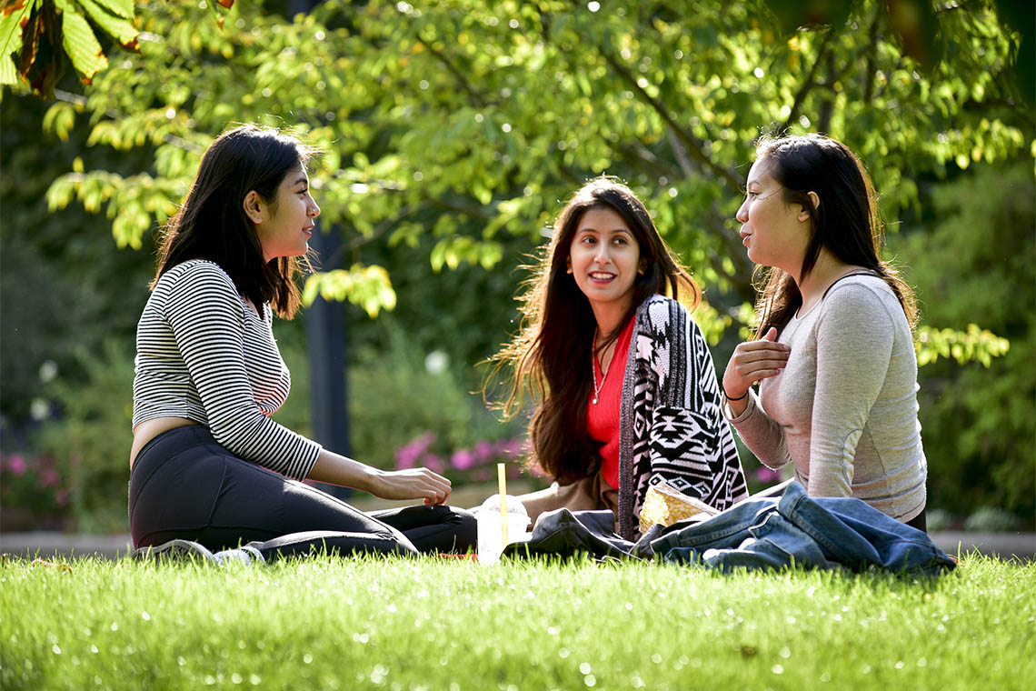 Students sitting on the lawn and talking