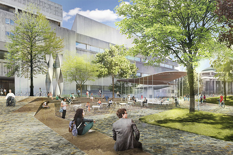 An artists depiction of what the Med Sci Plaza will look like after the Landmark transformation into a pedestrian only area