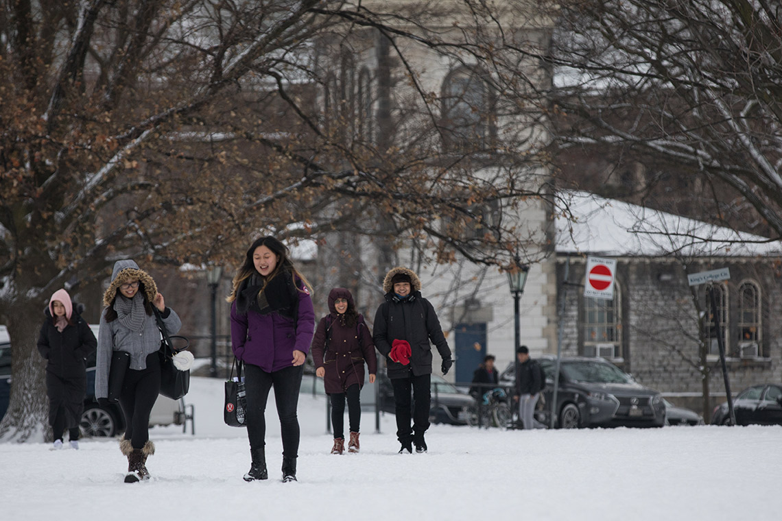 Students on campus in winter