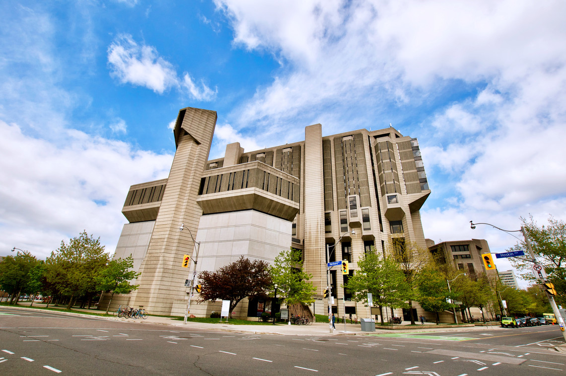 Street view of Robarts Library in spring