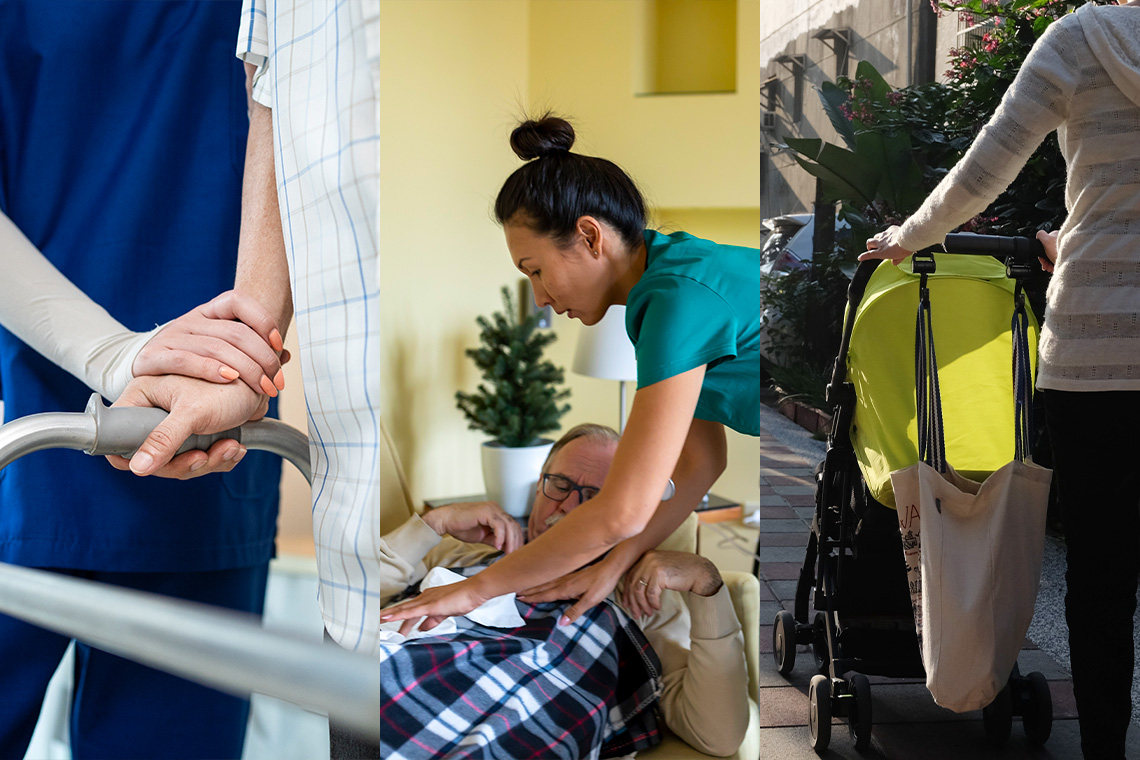 composite image shows female nurse holding an elderly person's hand, an asian nurse assisting a senior who is lying down at home and a woman pushing a baby stroller