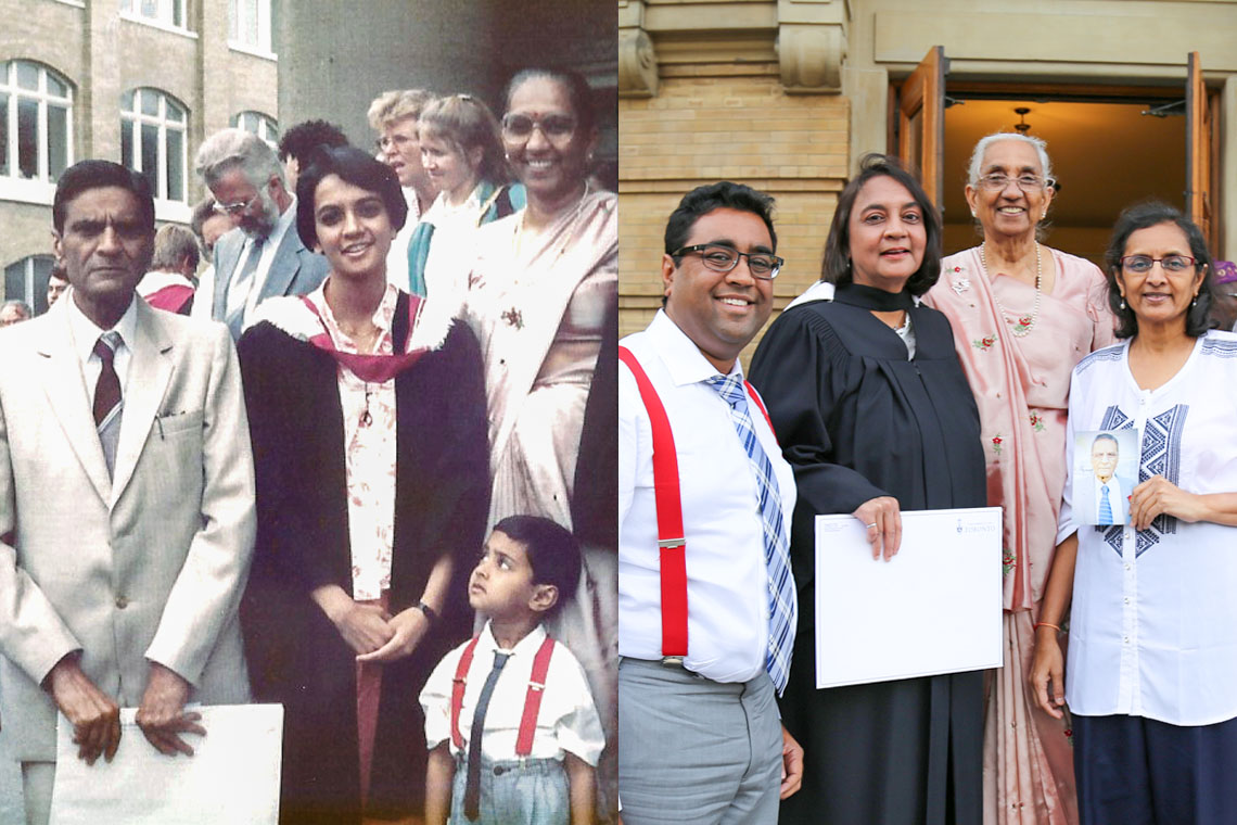 Left is photo of Unnati Patel and family from 31 years ago; Friday is recreated photo from graduation in November