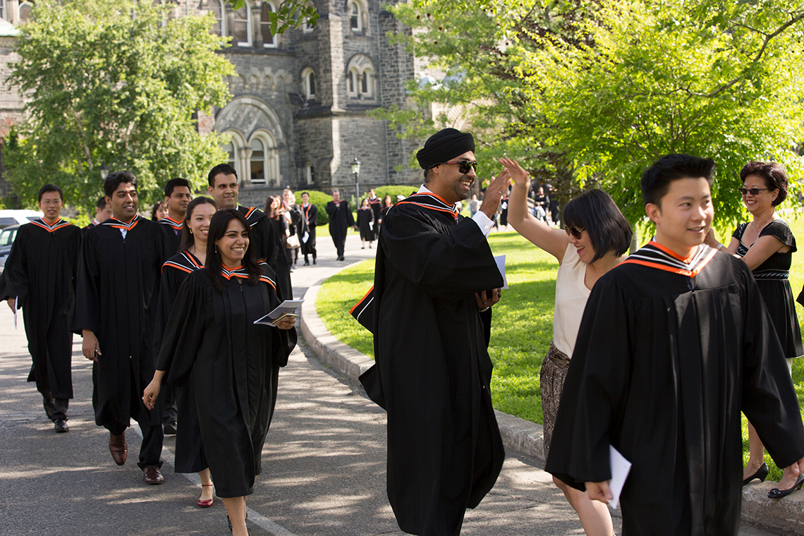 Photos of students in gowns walking to convocation ceremony